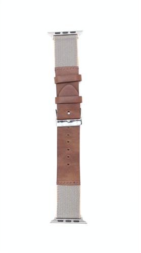 """Ремешок для Watch 42/44mm, """"кожаный"""" с тканевой вставкой, коричневый - фото 11002"""