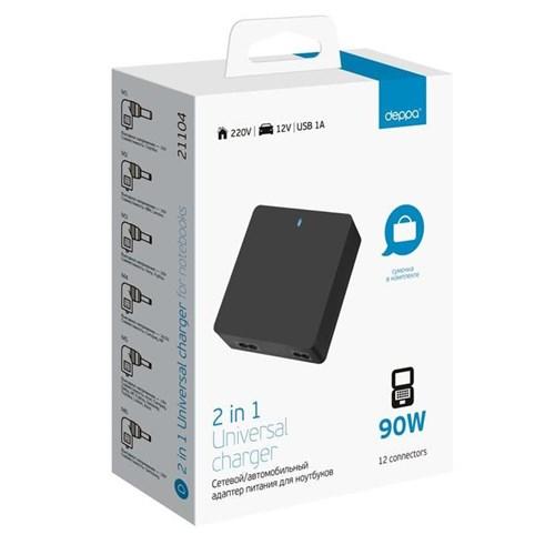 Сетевая и автозарядка Deppa для ноутбуков 2в1 , универсальный, USB 1A ,12 коннекторов, - фото 14146