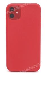 Чехол для iPhone 11 SULADA силиконовый, под кожу, с мет. вставкой для держателя, красный