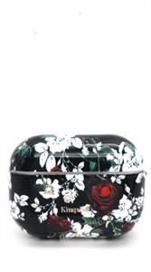 Защитный чехол для AirPods Pro, пластиковый, Kingxsbar, черный с красными розами