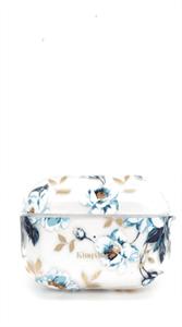 Защитный чехол для AirPods Pro, пластиковый, Kingxsbar, прозрачный с синими цветами