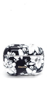 Защитный чехол для AirPods Pro, пластиковый, Kingxsbar, черный с белыми цветами