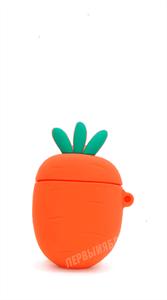 Защитный чехол для AirPods, силиконовый, морковь объёмный с кольцом