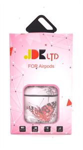 Защитный чехол для AirPods, пластиковый под кожу, бабочка, розовый