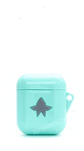 Защитный чехол для AirPods, плотный силиконовый, бирюзовый со звездой