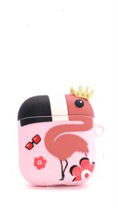 Защитный чехол для AirPods, силиконовый фламинго объёмный с кольцом, розовый