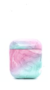Защитный чехол для AirPods, пластиковый, мрамор объёмный с кольцом, розово-голубой