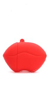 Защитный чехол для AirPods, силиконовый, губы объёмный с кольцом, красный
