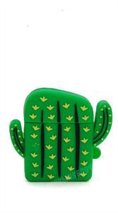 Защитный чехол для AirPods, силиконовый, кактус объёмный с кольцом, зеленый
