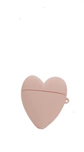 Защитный чехол для AirPods, силиконовый, сердце объёмный с кольцом, розовый песок