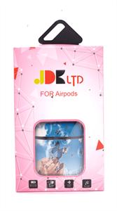 Защитный чехол для AirPods, пластиковый под кожу, много бабочек, синий