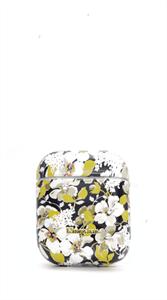Защитный чехол для AirPods, пластиковый, Kingxsbar, черный с желтыми цветами