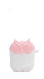 Защитный чехол для AirPods, плотный силиконовый сова объёмный, бело-розовая