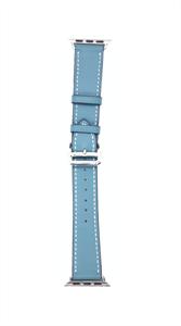 """Ремешок для Watch 38/40mm, """"кожаный"""" одноцветный с застежкой, голубой с белой строчкой"""