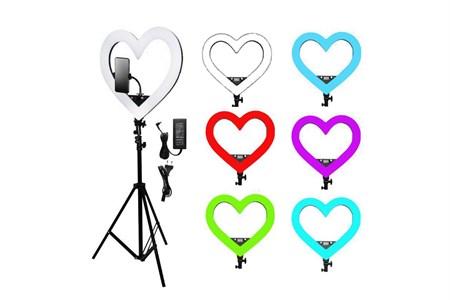 Кольцевая светодиодная лампа (цветная) В виде сердца  45 см Premium, со штативом (2м), + сумка