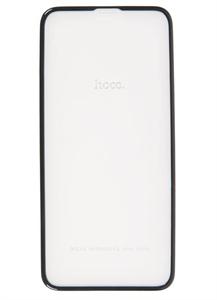 Защитное стекло для iPhone X/Xs 3D Hoco техпак, черное