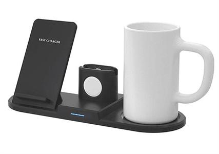 Беспроводное зарядное устройство 4 в 1 зарядка трех устройств (iPhone/Watch/AirPods) и подогрев чашки (чашка в комплекте)