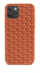 Чехол Kajsa для iPhone 12/12 Pro, силиконовый узор треугольники, оранжевый