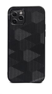 Чехол Kajsa для iPhone 12/12 Pro, силиконовый кожаная вставка с узором, черный