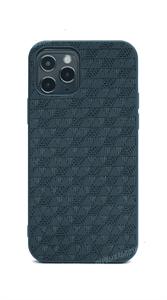 Чехол Kajsa для iPhone 12/12 Pro, силиконовый кожаная вставка, синий