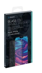Защитное стекло ПРИВАТНОЕ 2,5D для iPhone 12 mini, 0.3мм, Deppa, черный