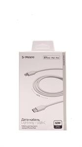Дата - кабель Deppa, USB-C - Lightning, MFI, 60W, 1.2m, белый