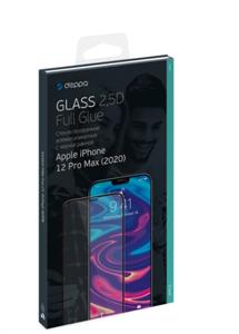 Защитное стекло 2,5D для iPhone 12 Pro Max, 0.3мм, Deppa, черный