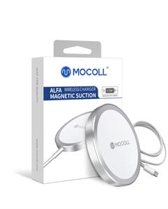 Беспроводное зарядное устройство Mocoll с магнитом с разъёмом USB-C 15W, белый