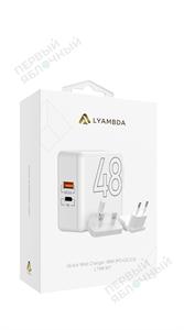 Cетевое зарядное устройство LYAMBDA 48W, USB-C + USB, PD, QC 3.0
