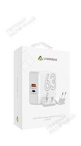 Cетевое зарядное устройство LYAMBDA 63W, USB-C + USB, PD, QC 3.0