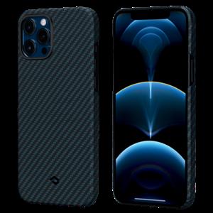 Чехол для iPhone 12 Pro Max Pitaka Magez Case (с поддержкой беспроводной зарядки и магнитного держателя), черно-синий