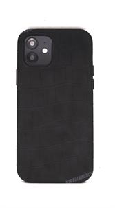 Чехол для iPhone 12/12 Pro King, кожаный фактурный, черный