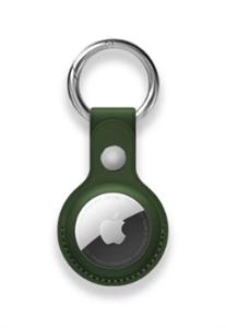 Кожаный брелок-подвеска с кольцом для AirTag, темно-зеленый