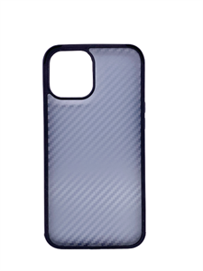 Чехол для iPhone 12/12 Pro Sulada  противоударный, карбоновый с металлическим бампером, синий