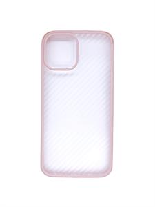 Чехол для iPhone 12/12 Pro Sulada противоударный, карбоновый с металлическим бампером, розовый