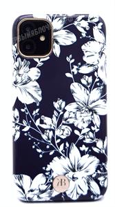 Чехол для iPhone 11 пластиковый, Kingxbar, белые цветы, черный (SL)