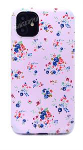 Чехол для iPhone 11 силиконовый, Luxo сине-красные цветы на сиреневом фоне (SL)