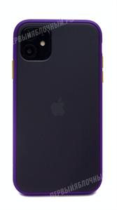 Чехол для iPhone 11 софт-тач пластик, TOTU, темный с фиолетовой рамкой