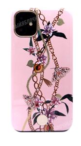 Чехол для iPhone 11 пластиковый, Kingxbar, цветы и бабочки, розовый (SL)