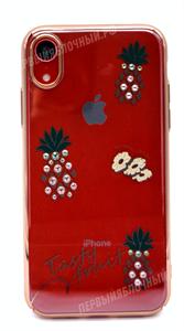 Чехол для iPhone XR пластиковый, Kingxbar, ананасы со стразами, золотой