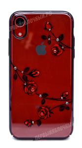 Чехол для iPhone XR пластиковый, Kingxbar, розы со стразами, черный