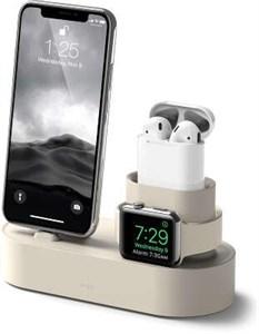 Подставка 3в1 для iPhone, AirPods и Watch силиконовая, Elago, слоновая кость