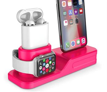 Подставка 3в1 для iPhone, AirPods и Watch силиконовая, NN, розовый